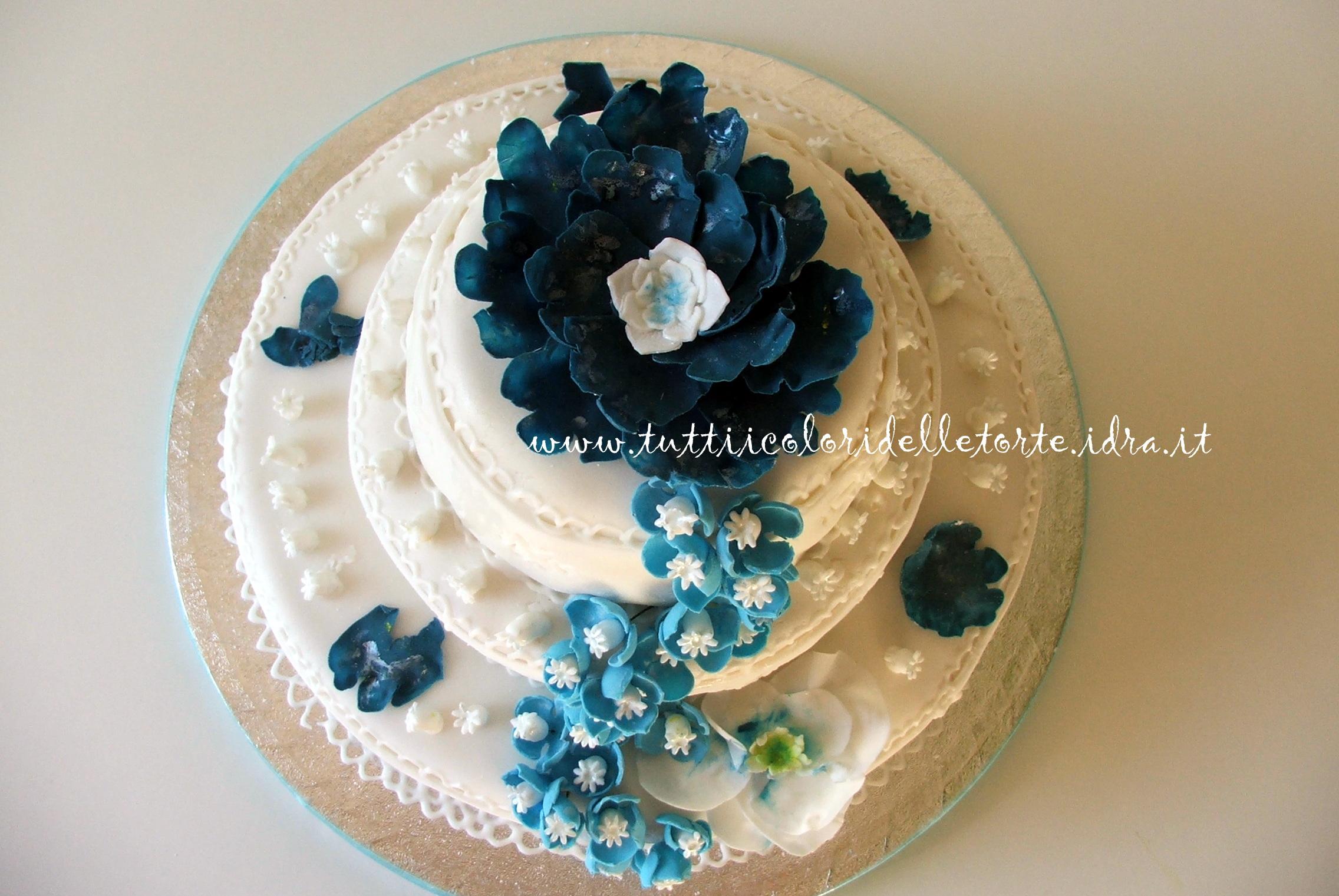 Torta con fiori azzurri tutti i colori delle torte tutti for Vecchi piani colonica con foto
